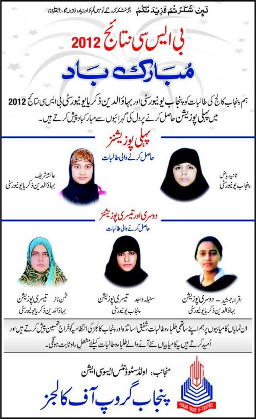 Top Position Holders in BSC From PU and BZU Result 2012