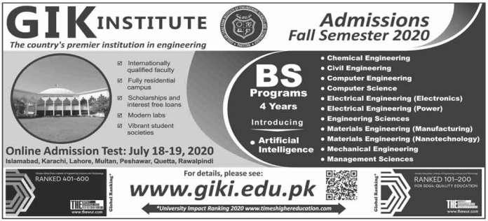GIK-Institute-BS-Admissions-2020