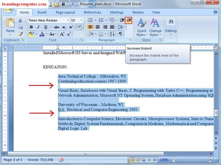 how to go to the next line in microsoft word