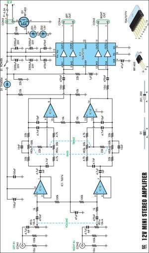 Compact HighPerformance 12V 20W Stereo Amplifier Circuit