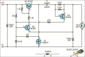 1W LED Driver Circuit Diagram