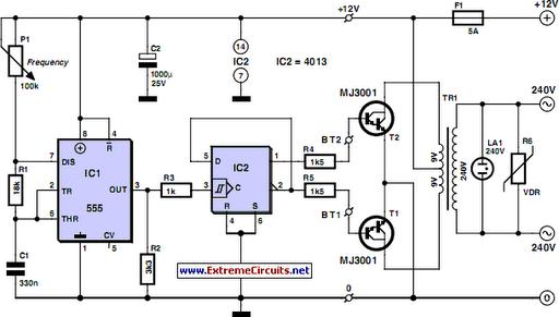 cheap 12v to 220v inverter circuit diagram