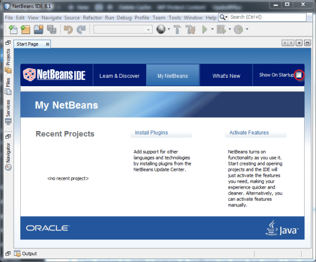 Netbeans Welcome Page