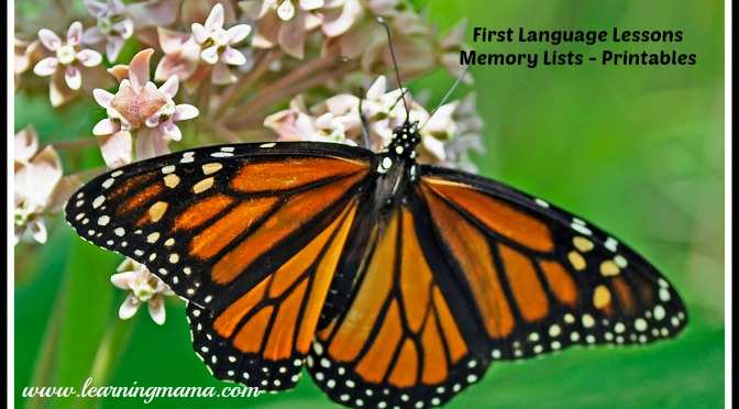 First Language Lessons – Memory List Printables