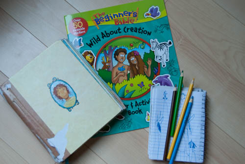 Our Sunday Bags {plus review: The Beginner's Bible Wild About Creation Sticker & Activity Book}