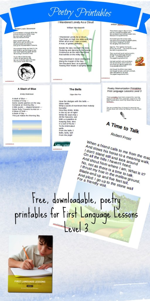 Poetry Printables: Free poetry memorization printables for First Language Lessons Level 3 (FLL3)