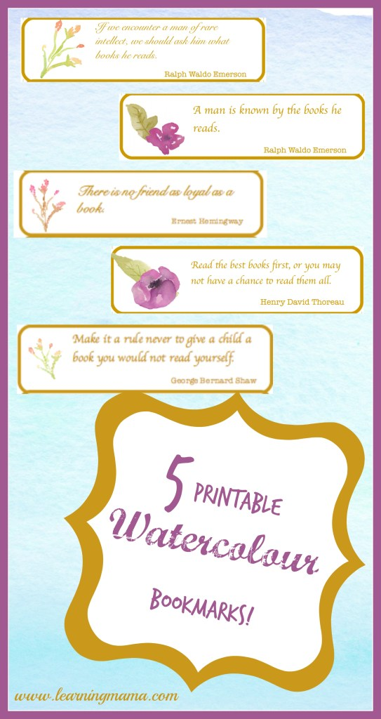 Free Printable, Literary Inspired, Watercolour Bookmarks!