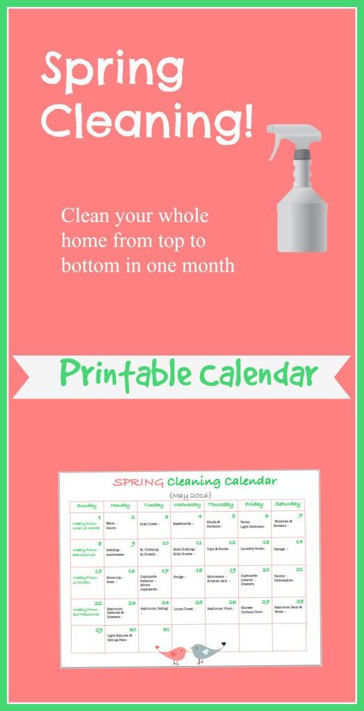 Spring Cleaning Calendar Printable