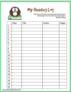 Owl themed, printable reading log
