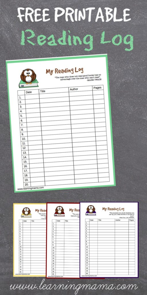 Printable Reading Log - Owl themed reading logs