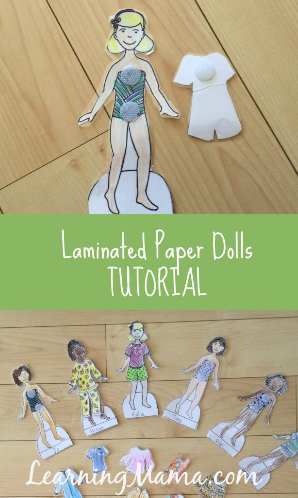 Laminated Paper Dolls Tutorial - make your paper dolls durable