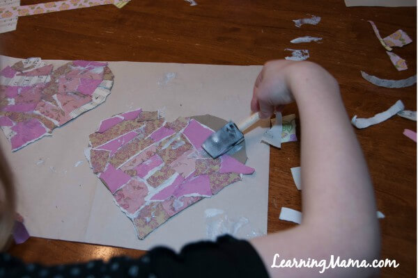 Easy Decoupage Heart Art Project for Kids