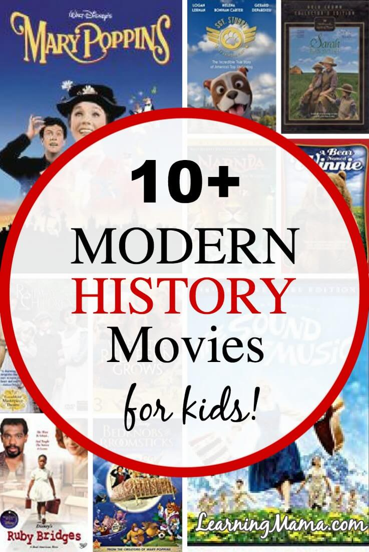 Experience Modern History with your kids with these clean, age appropriate family movies