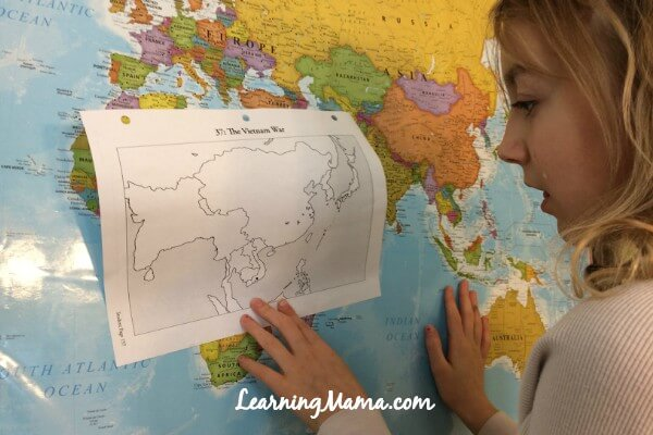 Doing the mapwork for Story of the World - A Day in the Life of a Homeschooler