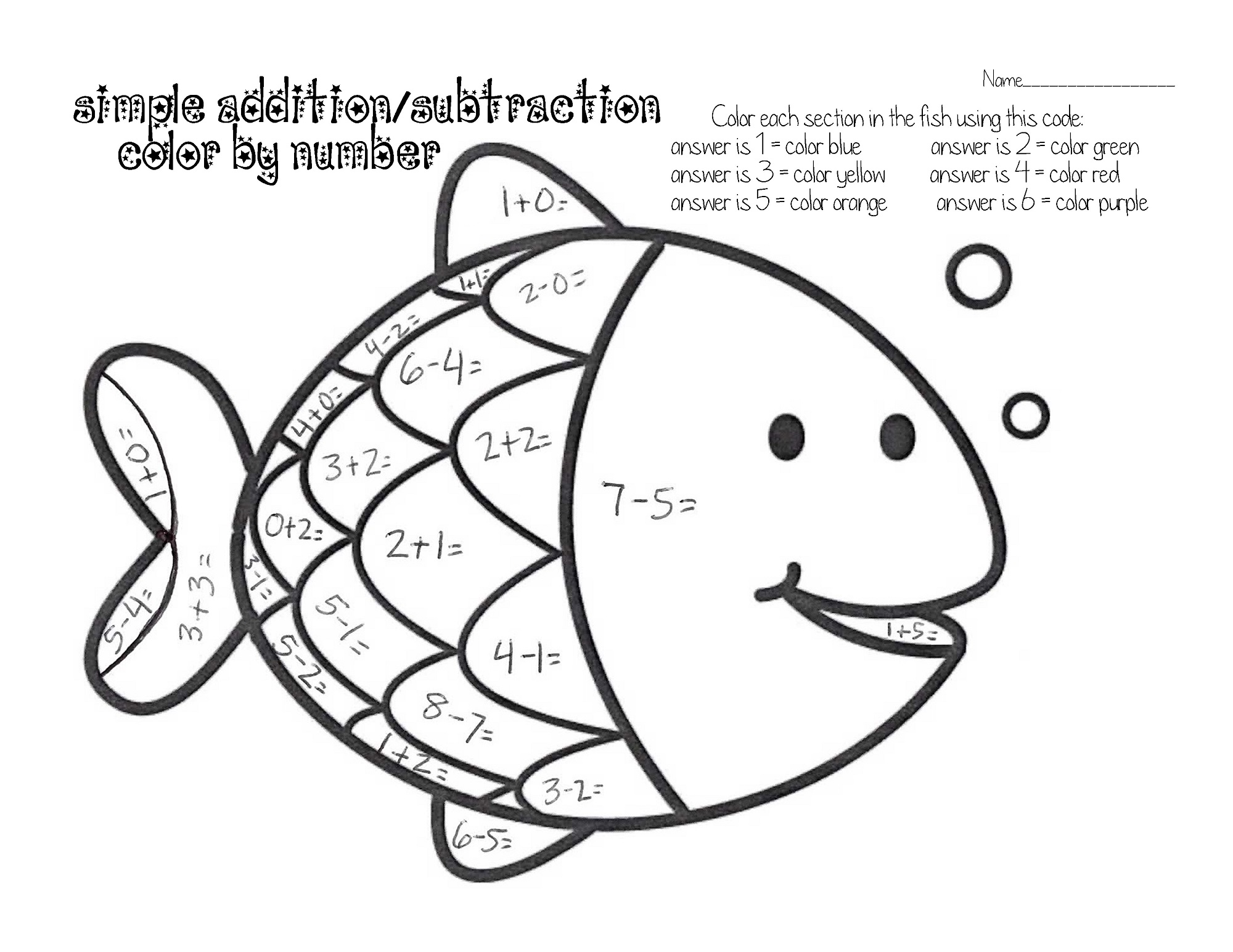 Easy Fun Fish Worksheets For Kids Color By Number Learning Printable