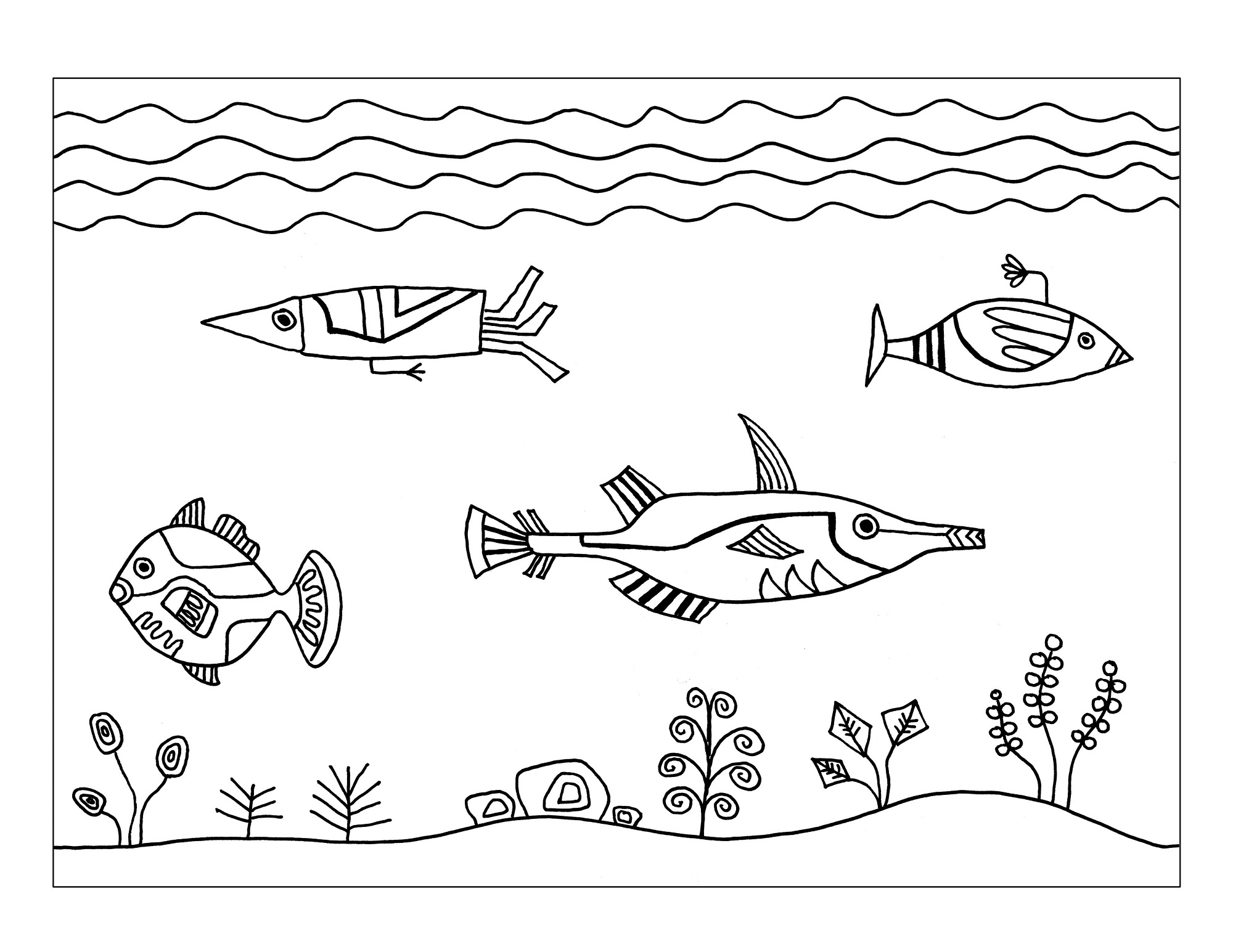 Easy Fun Fish Worksheets For Kids Coloring Learning