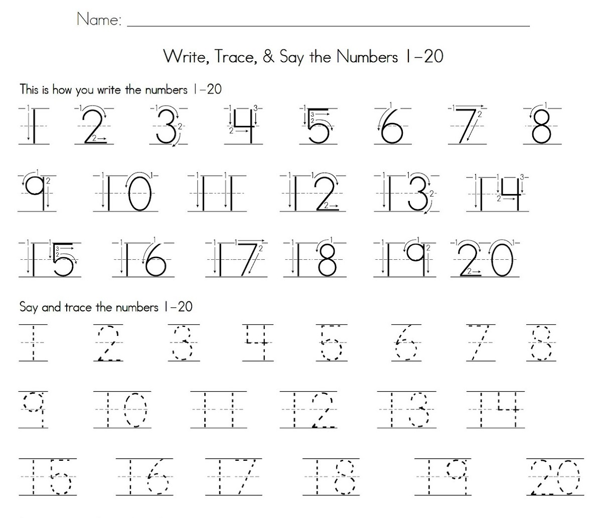 1 20 Number Tracing Worksheet Learning Printable