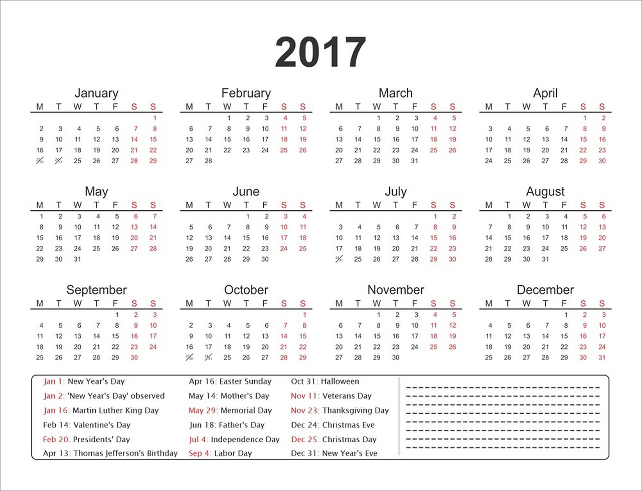 1 Page Calendars