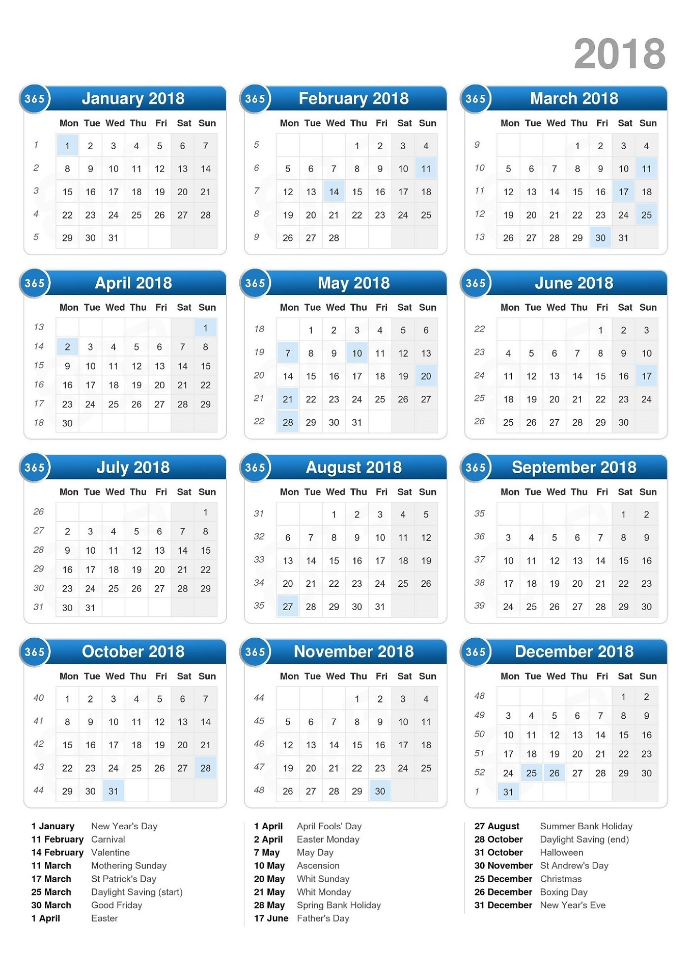 1 Page Calendars Printable
