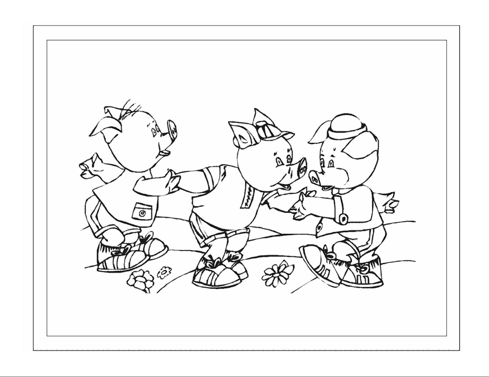 3 Little Pigs Coloring Pages For Preschoolers Activity