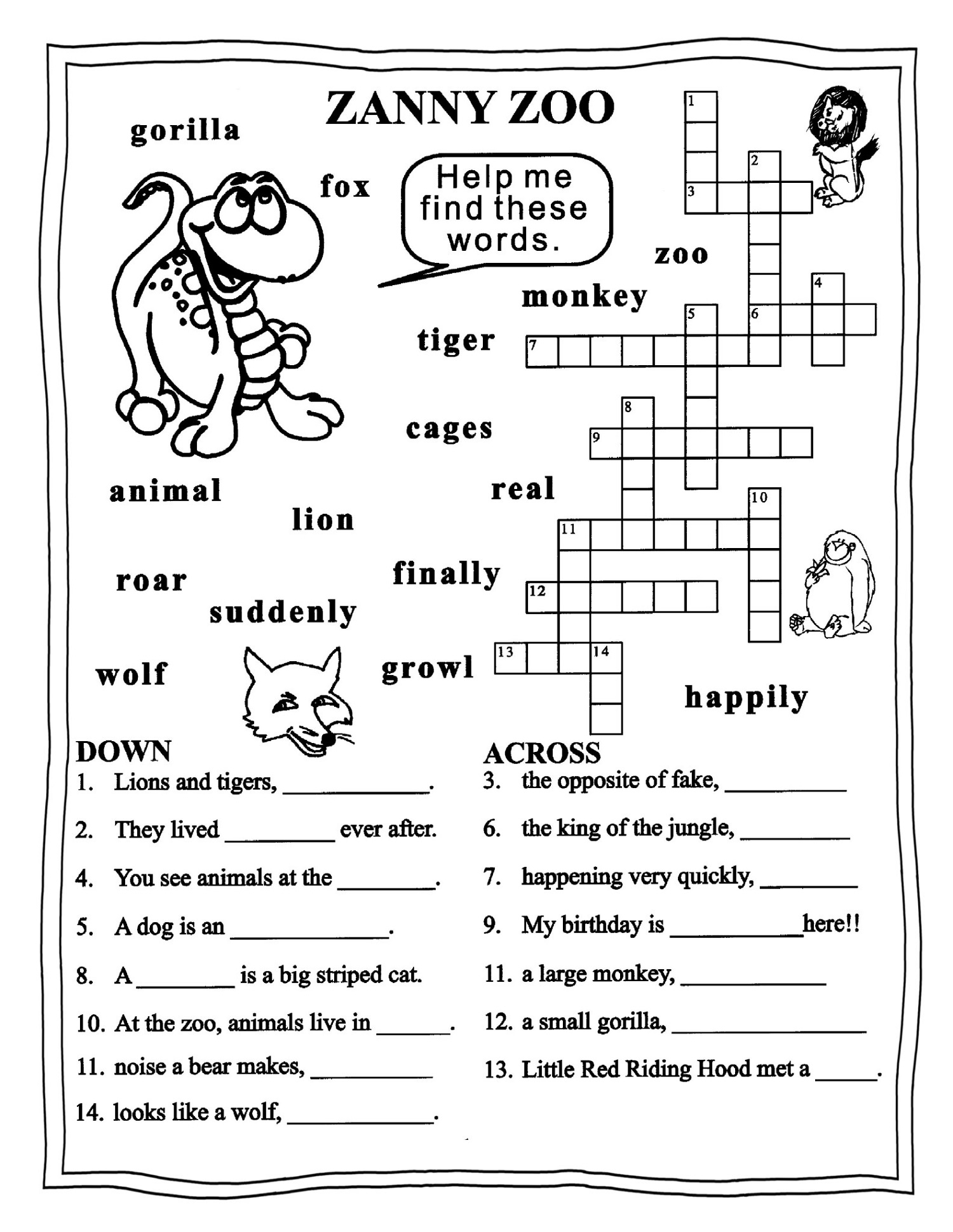 English Printable Worksheets 3 Grade Puzzle Learning