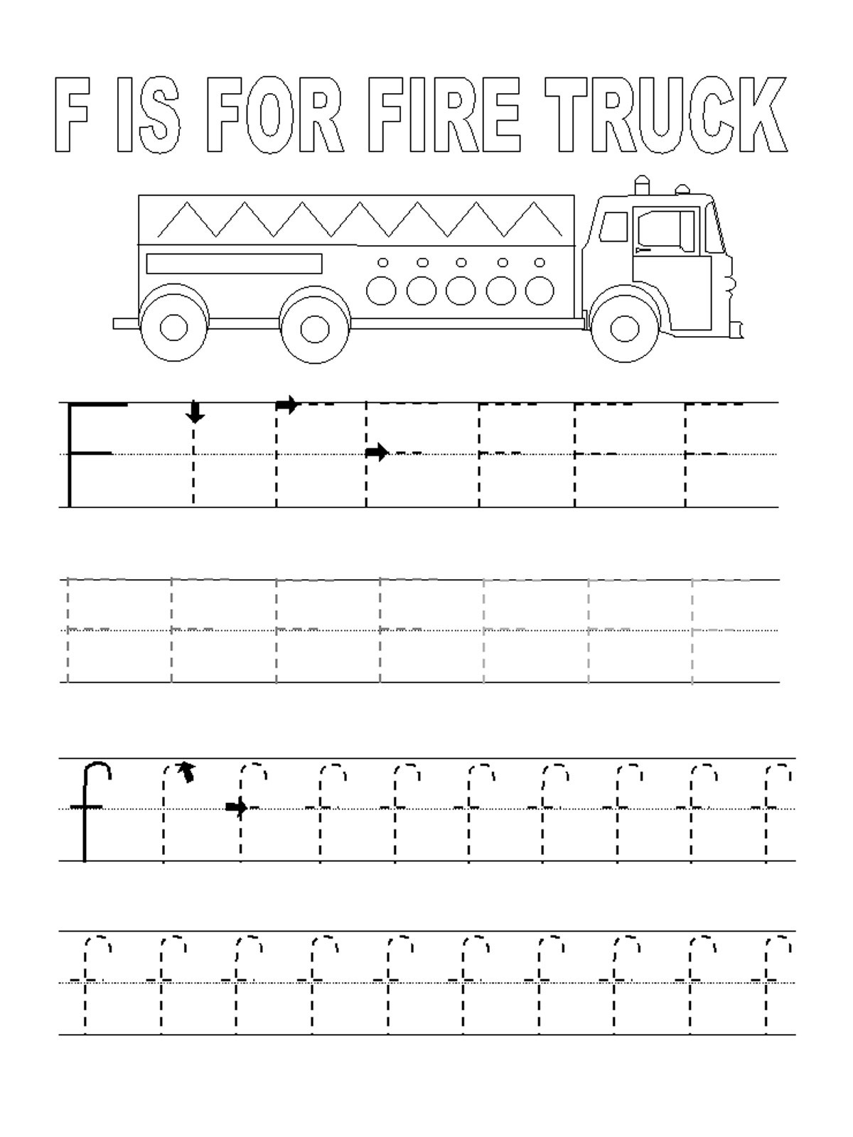 Letter F Tracing Worksheets For Kids Learning Printable