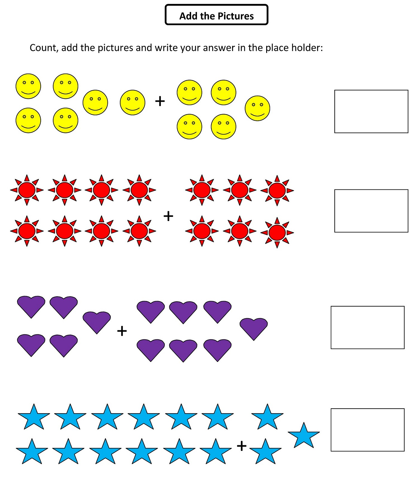 Math Grade1 Pictures Addition Learning Printable