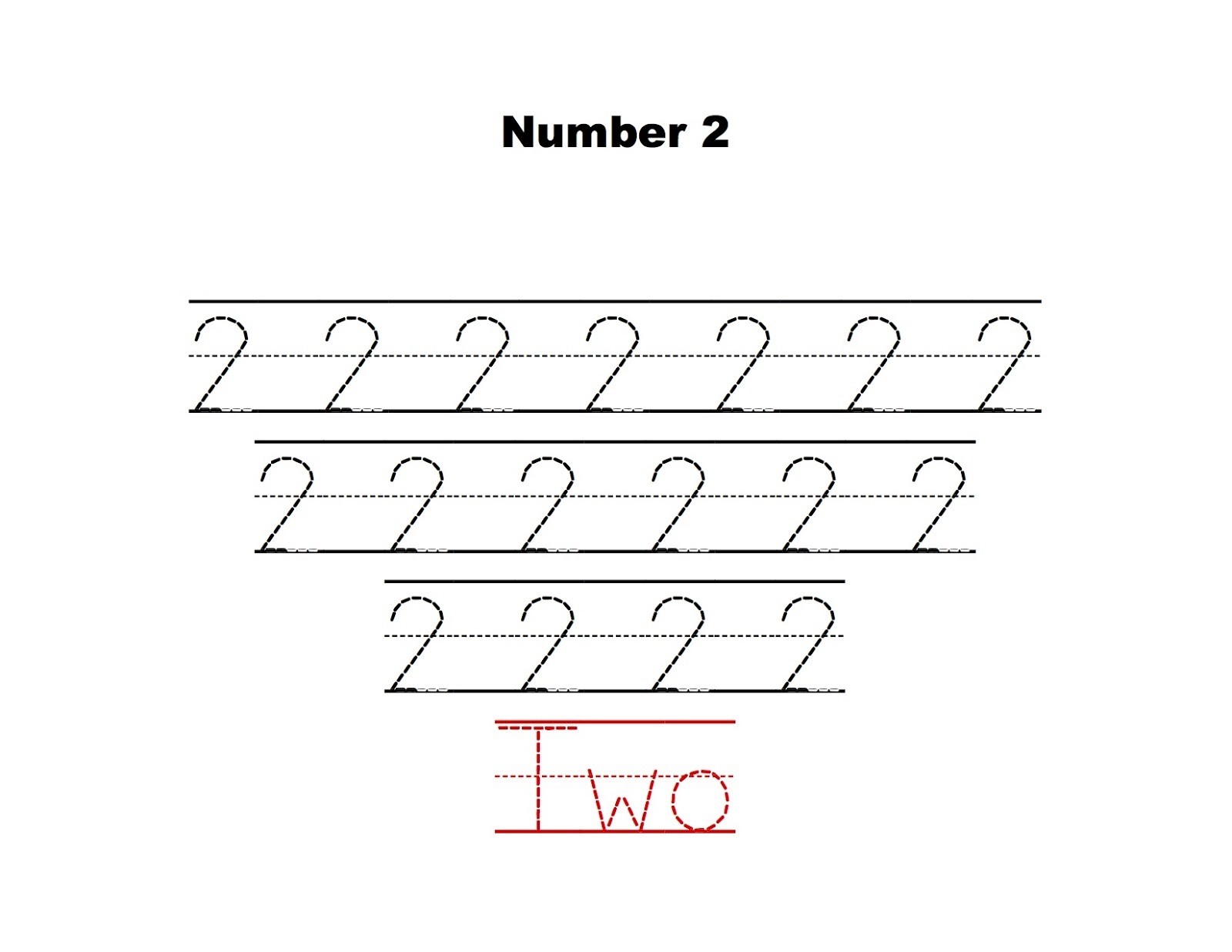 Number 2 Tracing Worksheets Practice Learning Printable