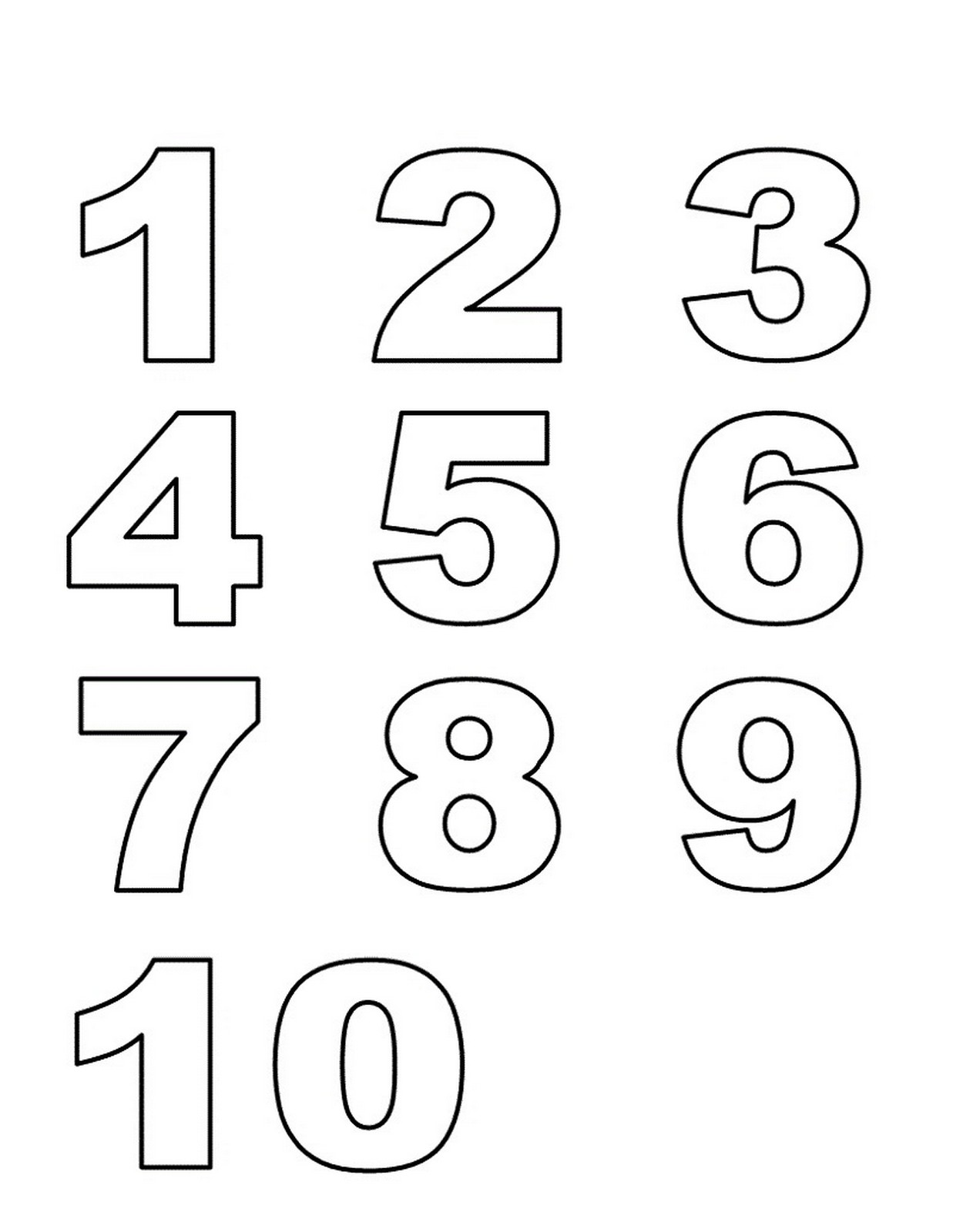 Numbers 1 10 Preschool Printables
