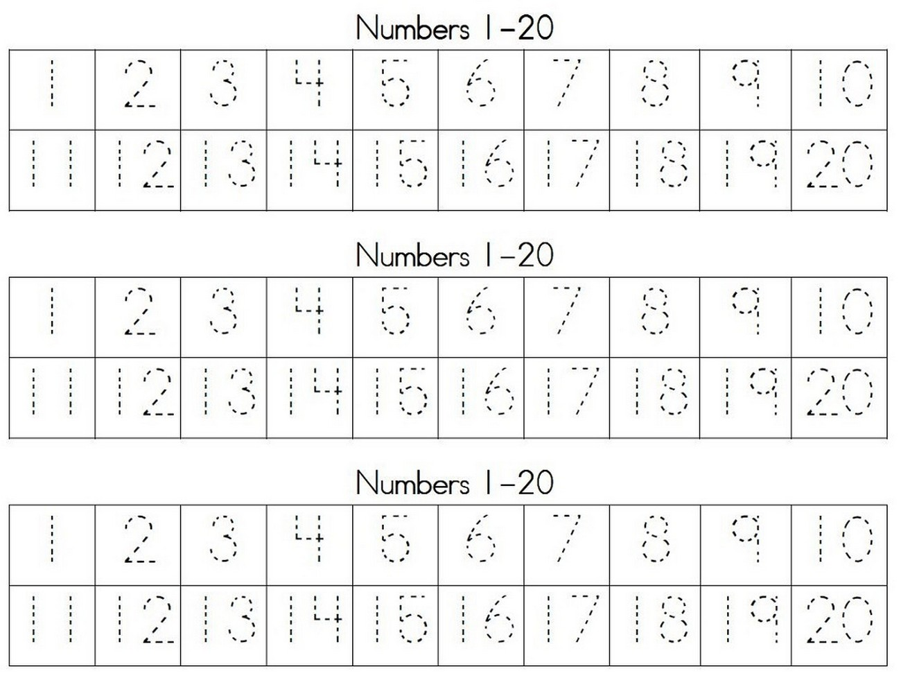 Numbers Activities For Preschoolers Tracing Learning