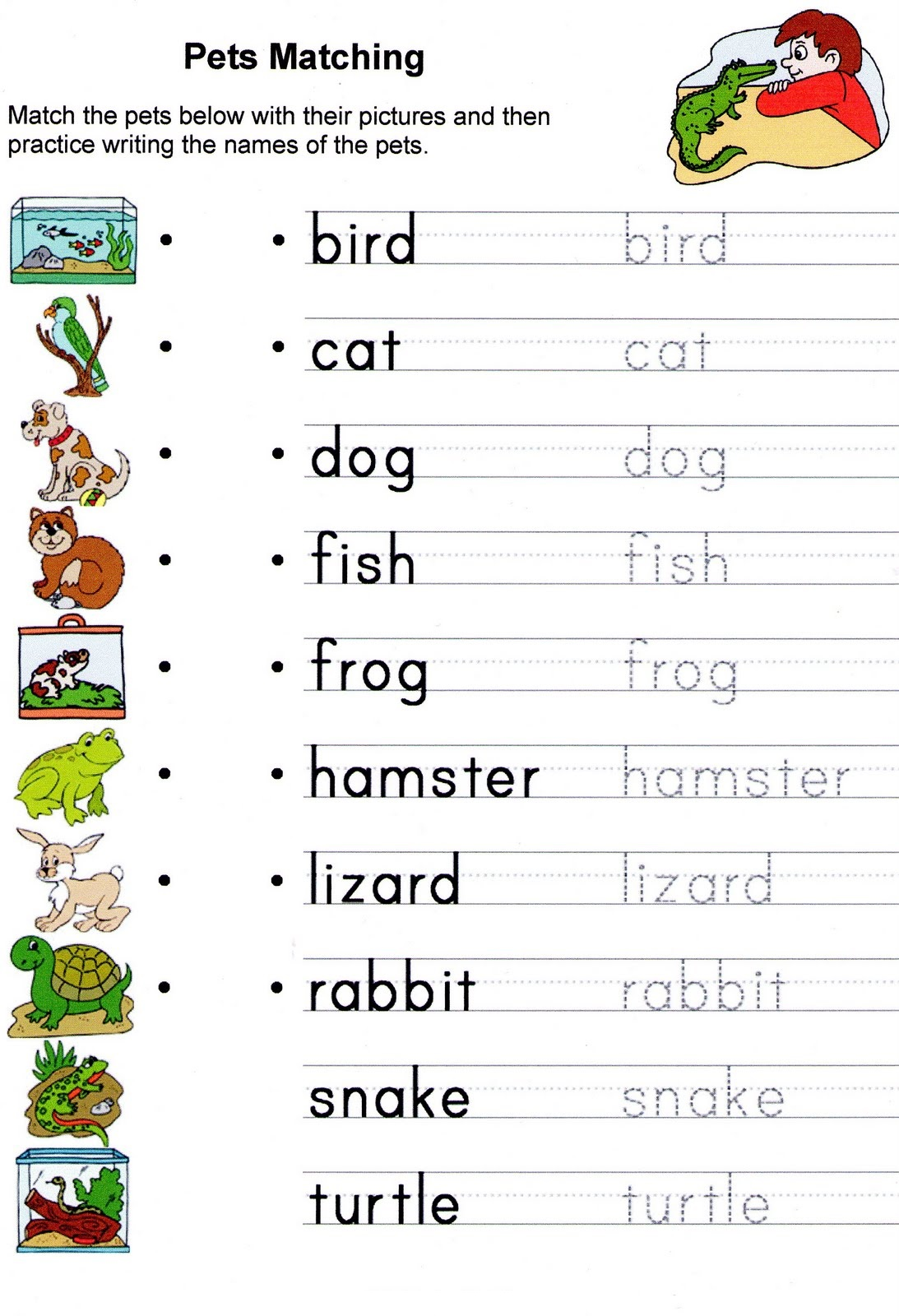 English Worksheets For Kids Animal Learning Printable