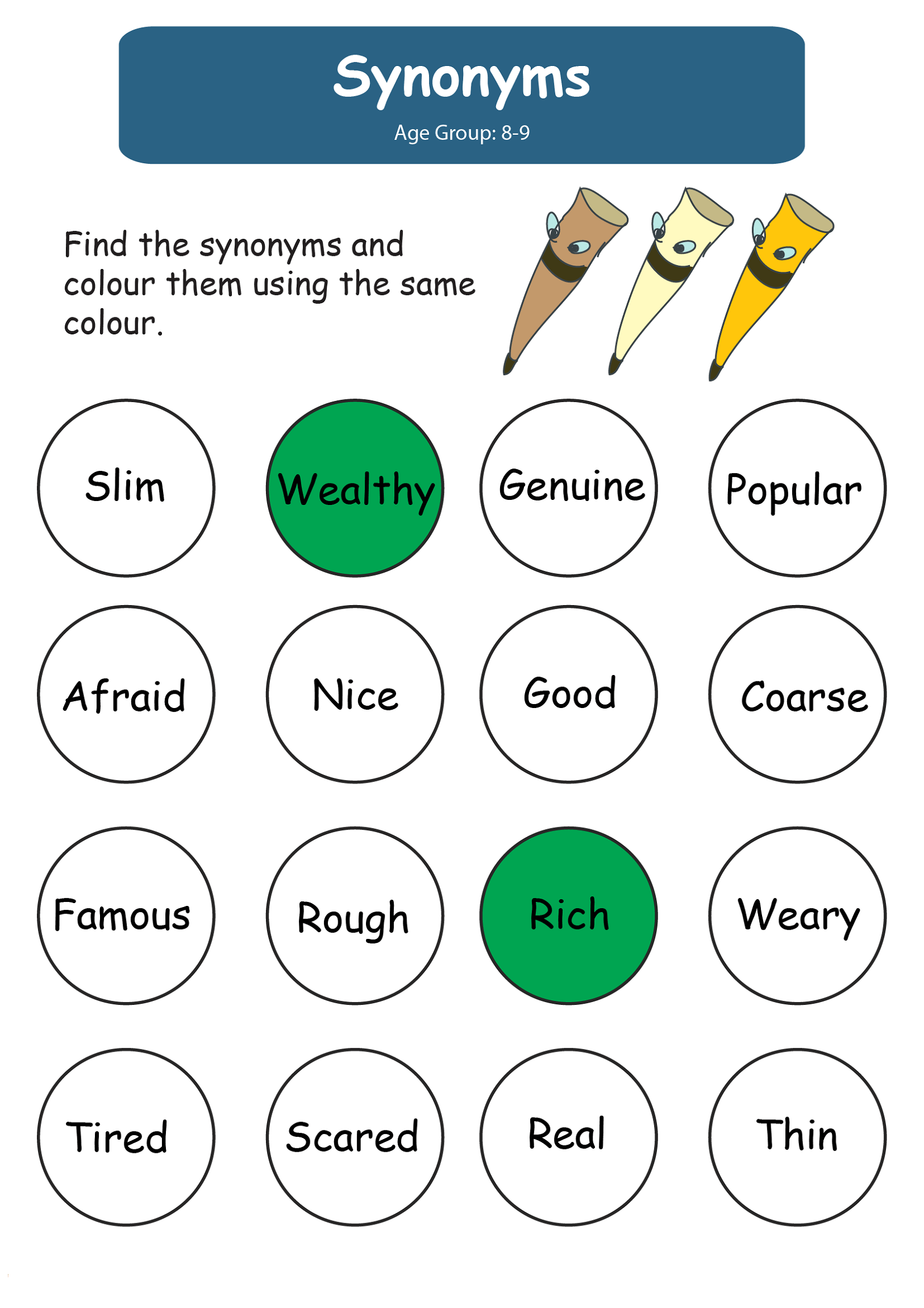 English Worksheets For Kids Synonym Learning Printable