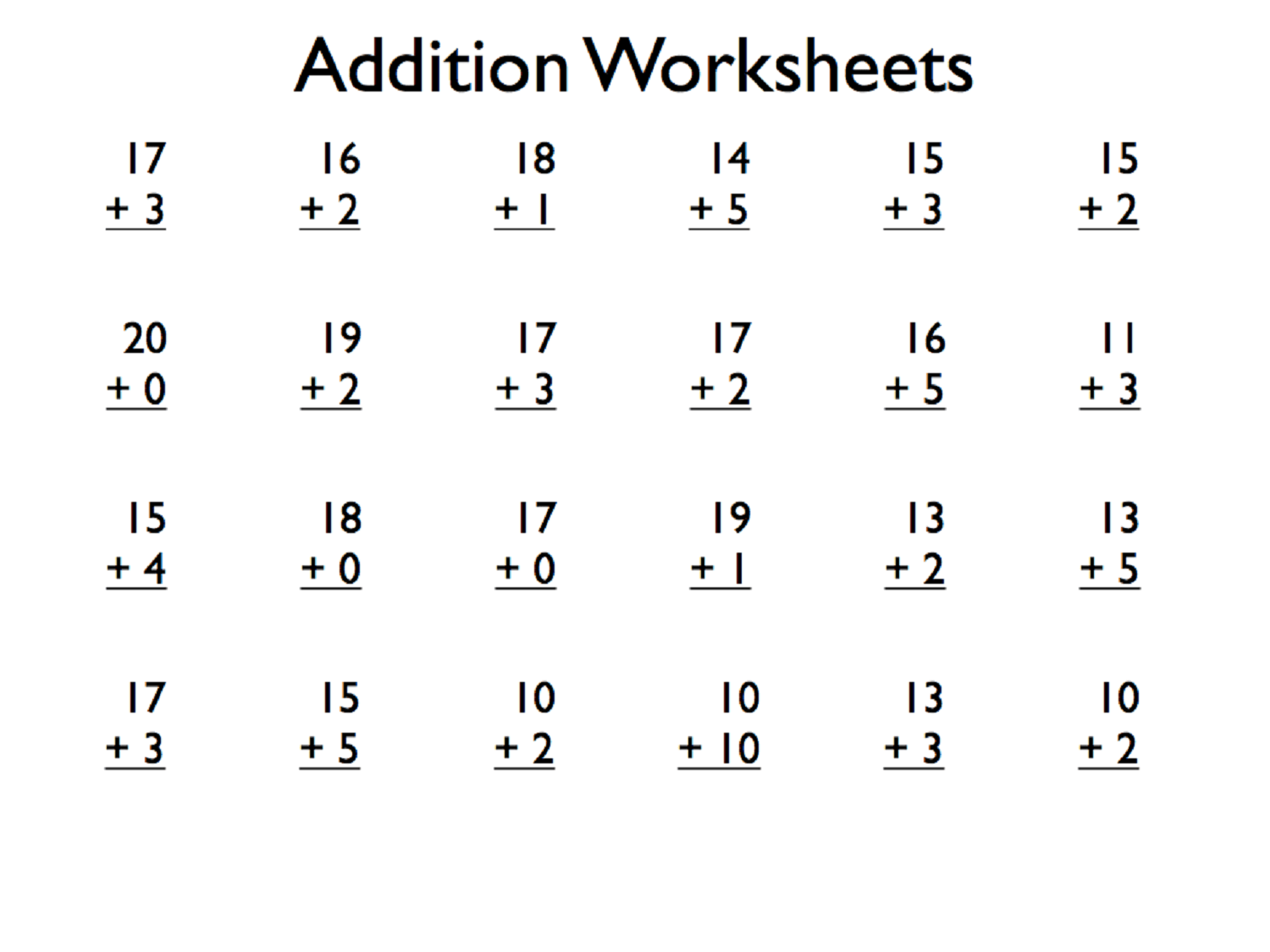 Printable Addition Worksheets For Kids