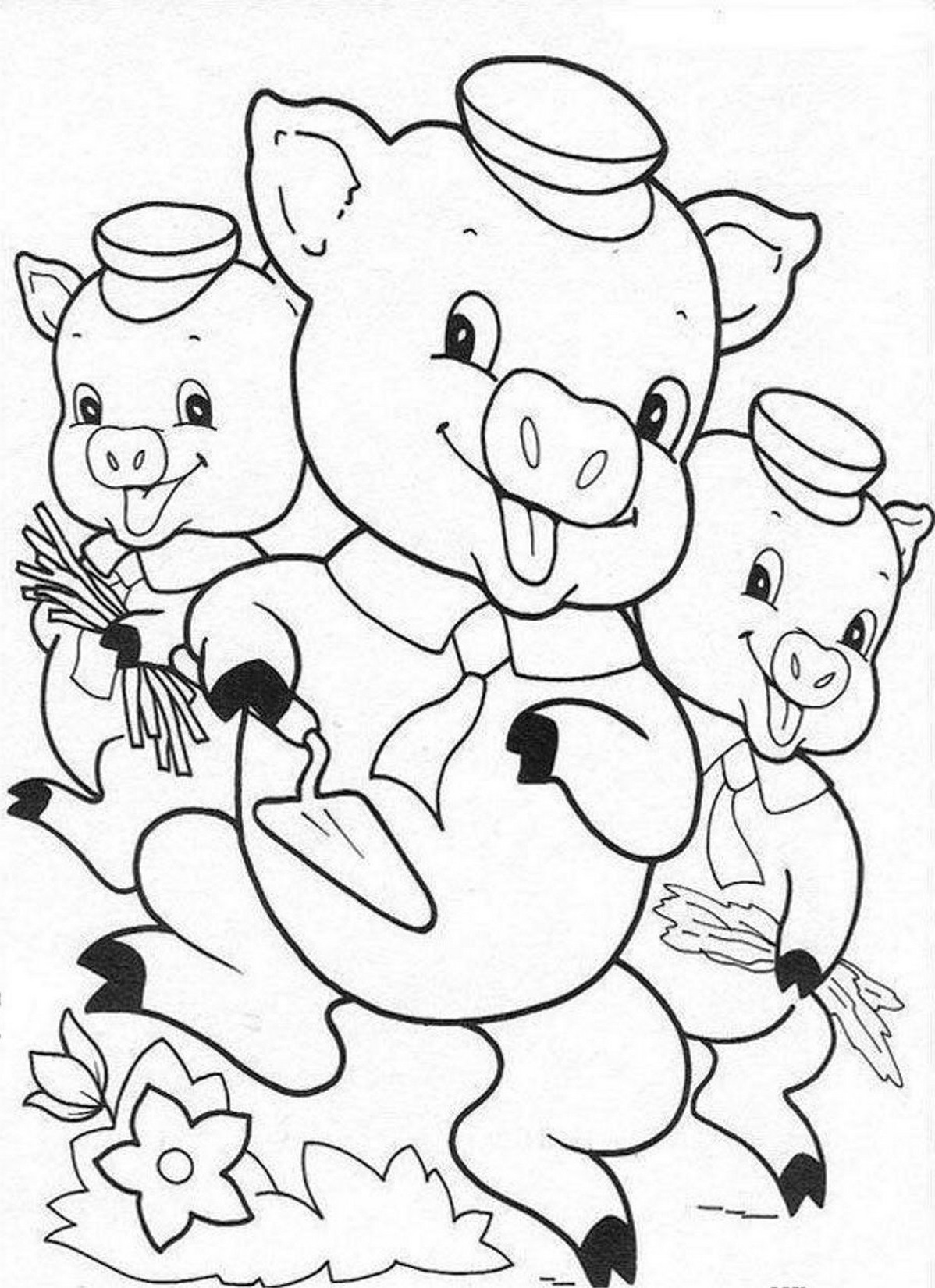 Three Little Pigs Pages For Preschoolers Coloring Pages