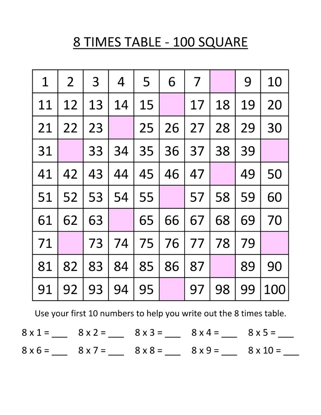Times Tables Practice Sheets Printable Page Learning