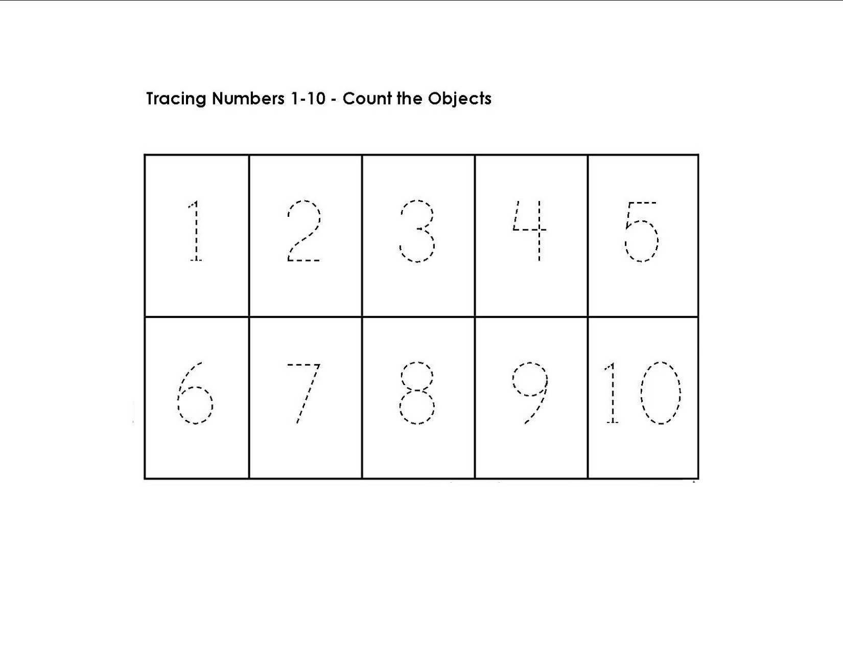 Tracing Numbers 1 10 Worksheet