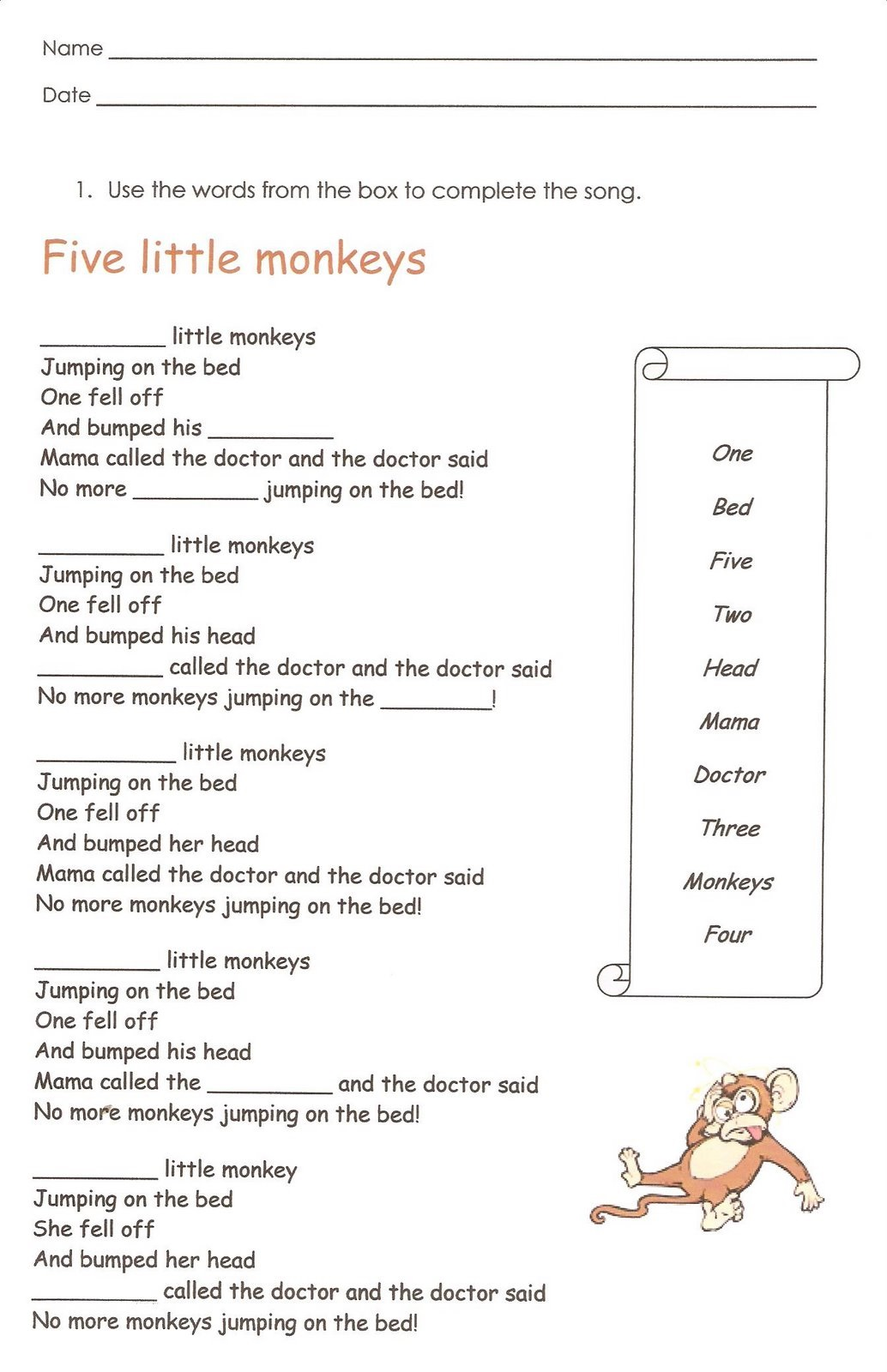 First Grade English Worksheets To Print