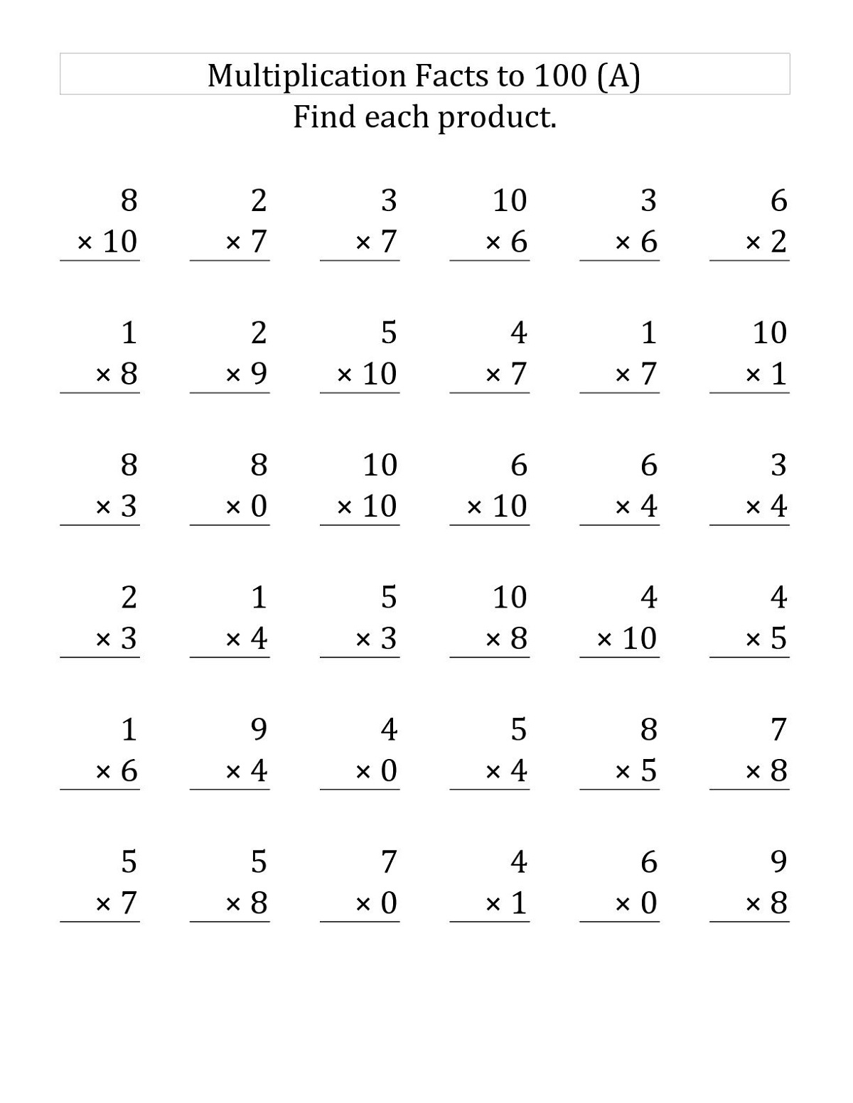 Multiplication And Division Fact Family Worksheet