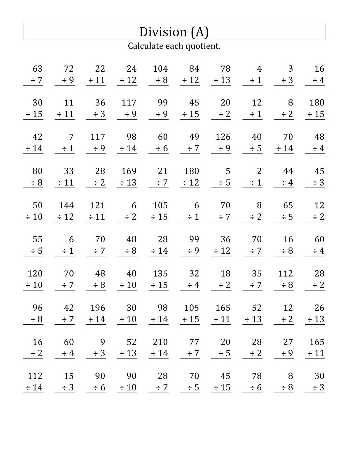 Multiplication Worksheet Year 3