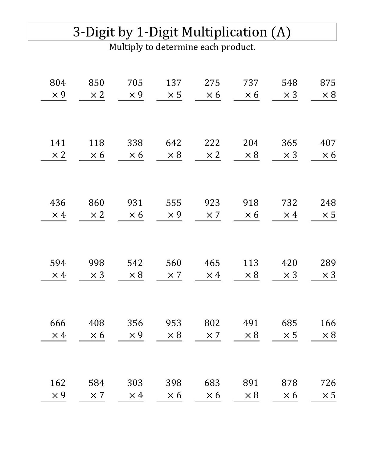 Multiplication Worksheet For Grade 3 Free