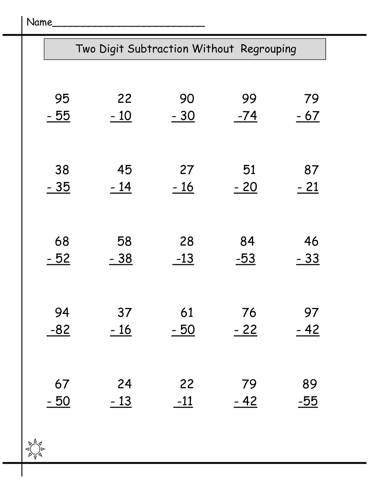 1st Grade Subtraction Worksheet 100 Problems