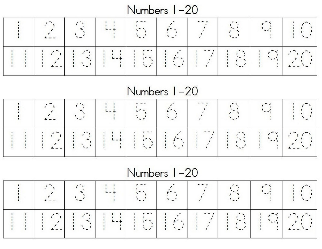 Practice Numbers 1 20 Worksheet
