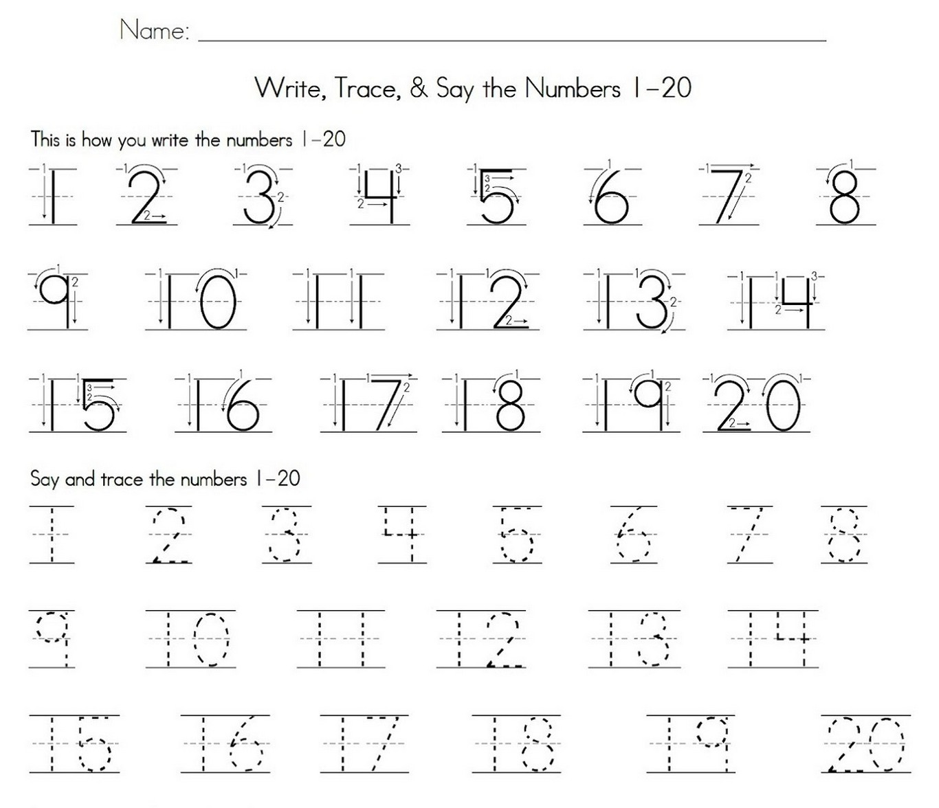 Trace Number 1 20 Worksheet Practice Learning Printable