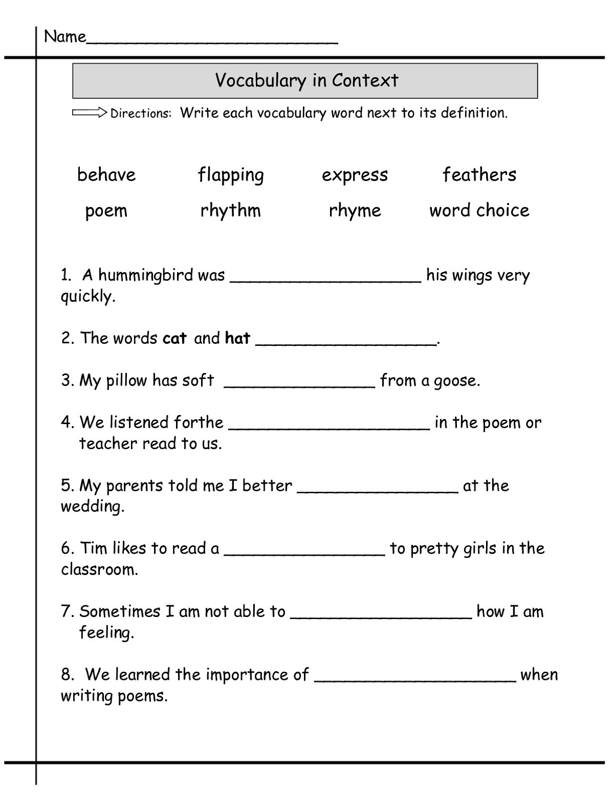 Language Worksheets