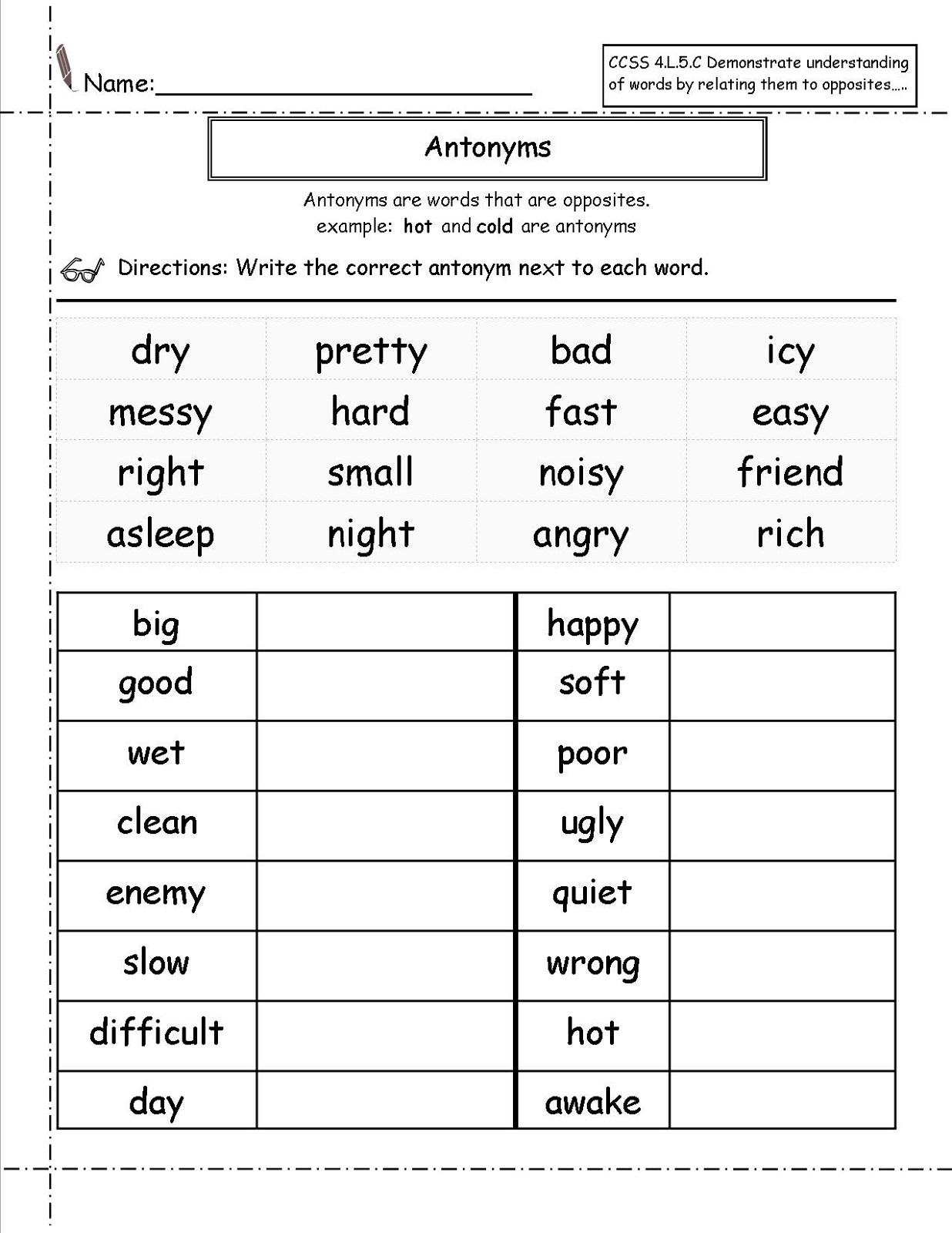 Antonyms For 1st Grade Worksheet