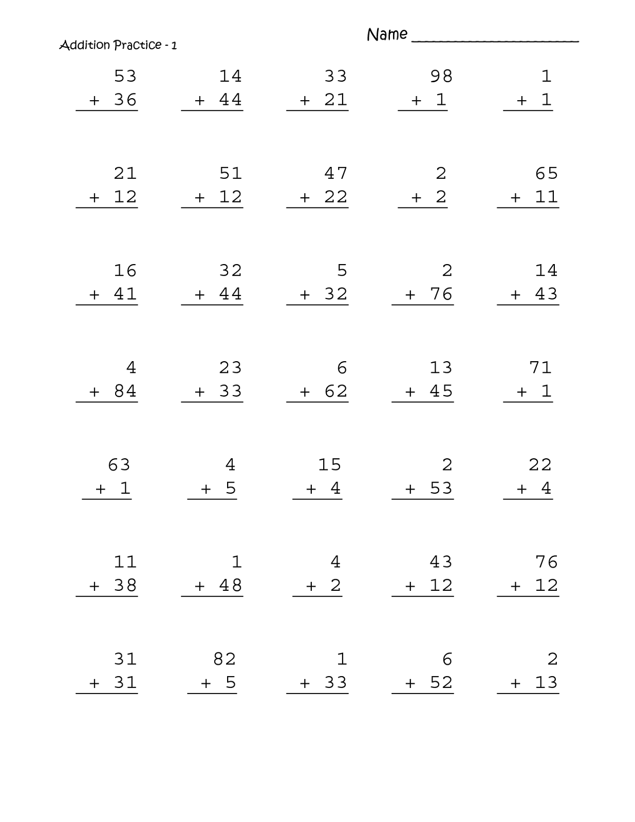 Worksheets For Grade 1 Math Learning Printable