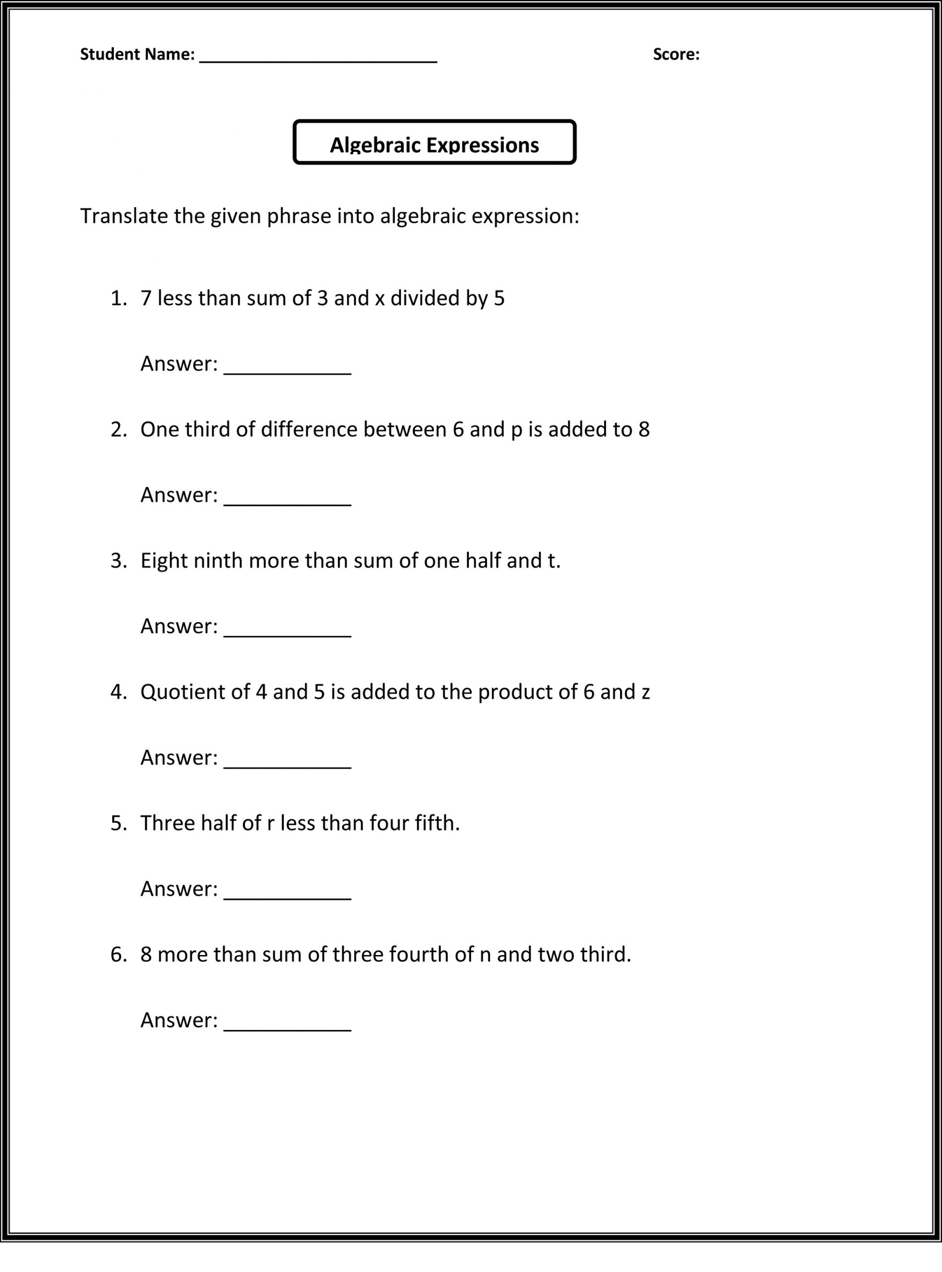 Printable 6th Grade Worksheets For Teaching Resources