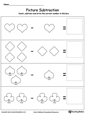 Early Childhood Subtraction Worksheets
