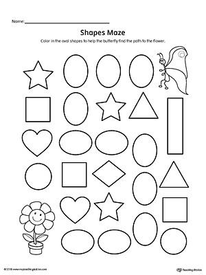 Oval Shape Maze Printable Worksheet