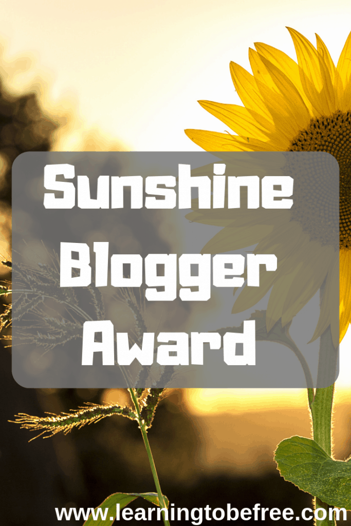 Sunshine Blogger Award on a background of a sunflower in the sunshine
